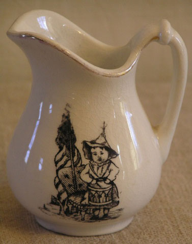 Patriotic Transfer Ironstone Child's Pitcher