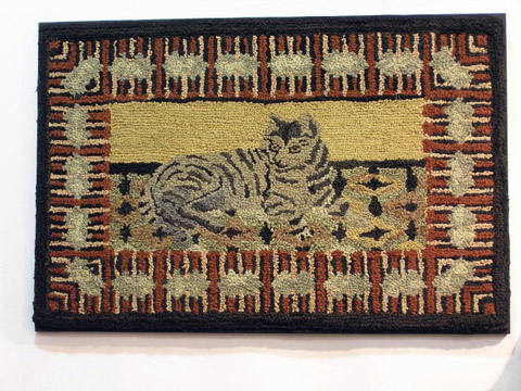 Fabulous Late 19th C Hooked Rug with Cat