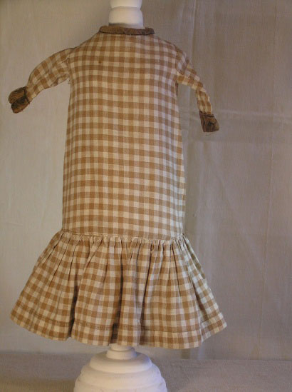 Brown checked Homespun Doll Dress