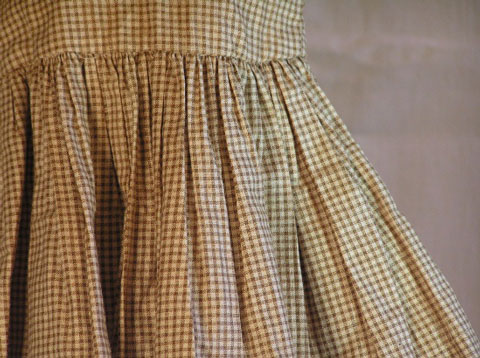 Brown Checked Cotton Doll Dress