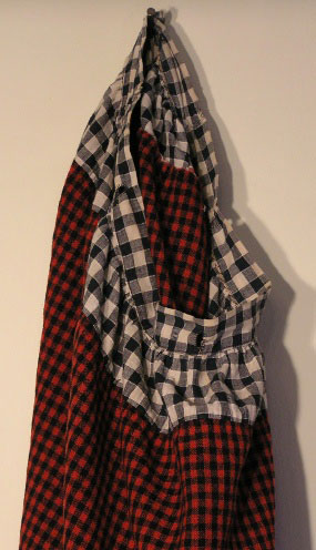 Late 19th C Girl's Red Checked Wool Petticoat