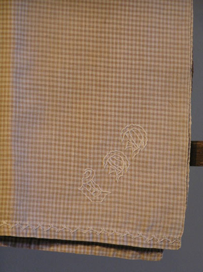 Late 19th C Brown Check Table Cover