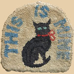 """This Is Mine"" Black Cat Hooked Rug"
