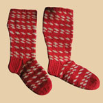 The Best Late 19th C Red/White Wool Child's Socks
