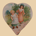Late 19th C Paper Heart-Shaped Candy Box