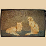 Late 19th C Pennsylvania Hooked Rug with Cats